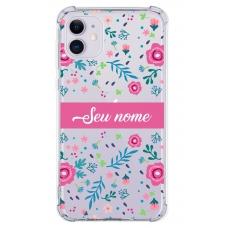 Capinha para celular - Personalizada com nome - Flores 04
