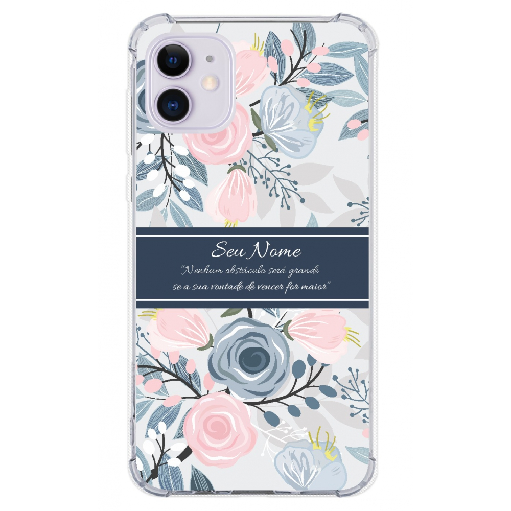 Capinha para celular - Personalizada com nome - Flores 18