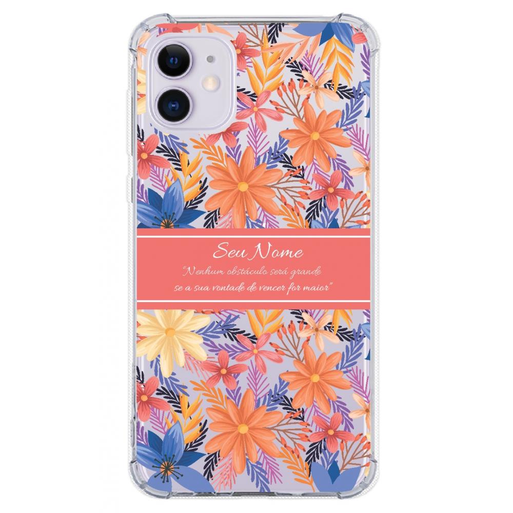 Capinha para celular - Personalizada com nome - Flores 19