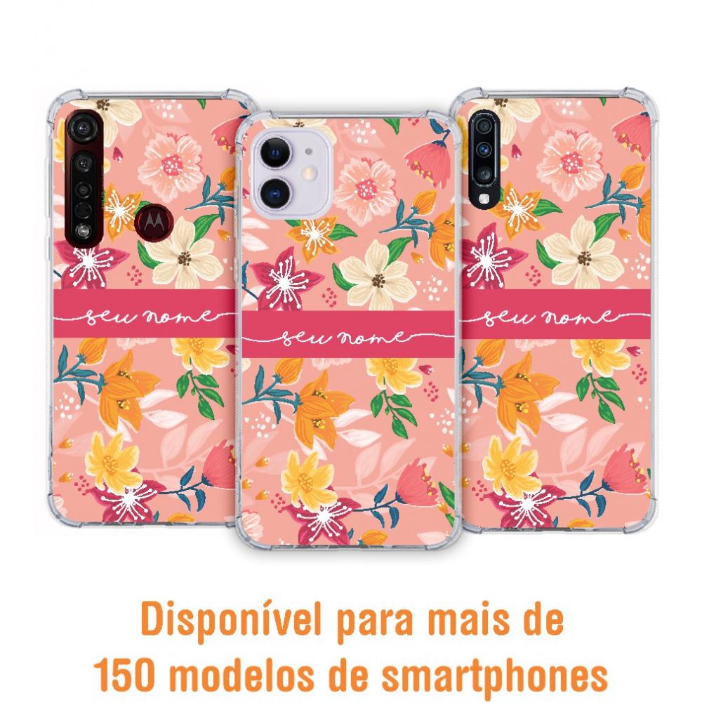 Capinha para celular - Personalizada com nome - Flores 34